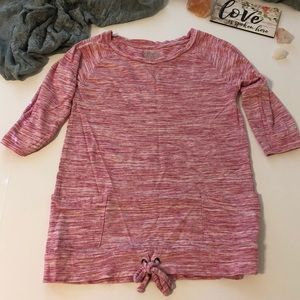 Old Navy Pink & White pull over top size M